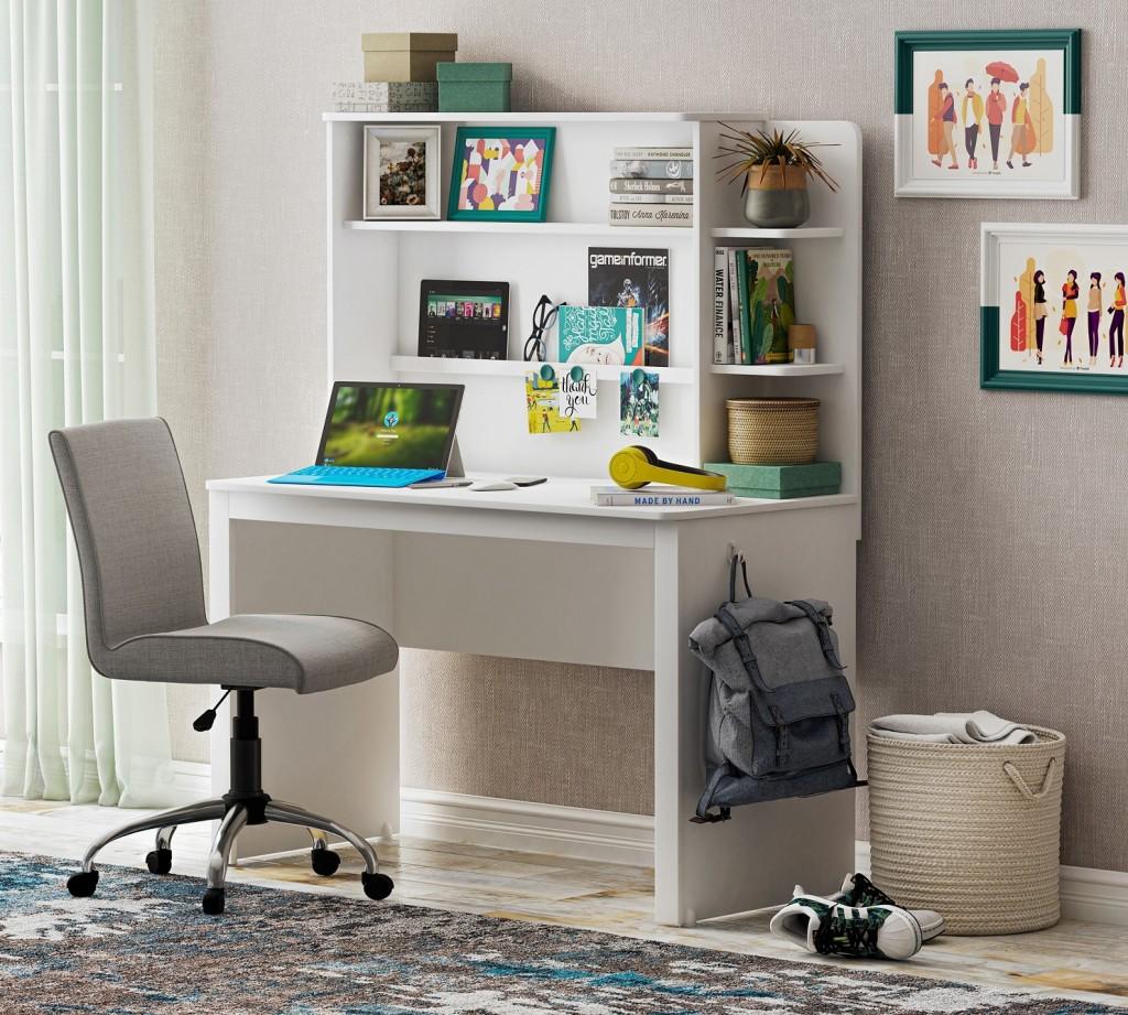 например, письменные столы с полками и ящиками картинки нет